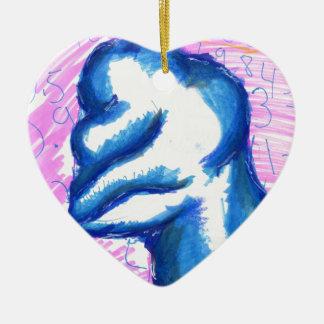 Una tierra de la transformación topológica adorno navideño de cerámica en forma de corazón