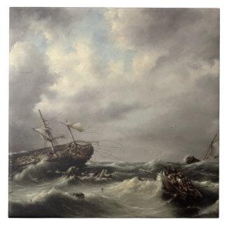 Una tormenta en el mar (aceite en el panel) azulejo cuadrado grande