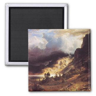 Una tormenta en las montañas de la roca, Bierstadt Imán Cuadrado