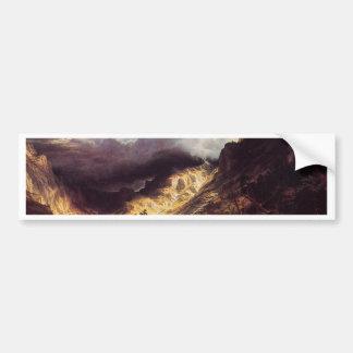 Una tormenta en las montañas de la roca, Bierstadt Pegatina Para Auto