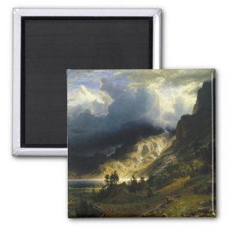 Una tormenta en las montañas rocosas Bierstadt Imán Cuadrado