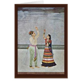 Una tormenta se adelanta por Indischer Maler Um 17 Tarjeton