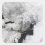 Una tormenta severa del invierno calcomania cuadrada personalizada