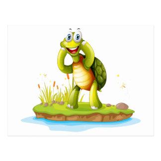 Una tortuga sonriente en una isla postales