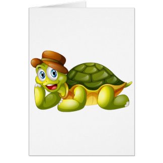 Una tortuga sonriente que se acuesta tarjeta de felicitación