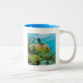 Una tortuga verde en los filones bajos de Bonaire Taza De Café De Dos Colores
