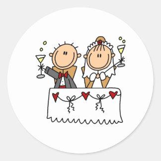 Una tostada al pegatina de novia y del novio