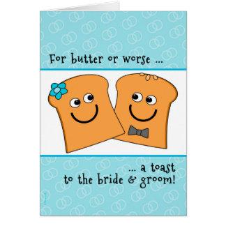 Una tostada sensiblera a la novia y al novio que tarjeta de felicitación