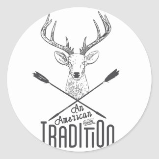 una tradición americana: Caza de madera principal Pegatina Redonda