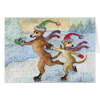 Una tradición del día de fiesta - patinando tarjeton