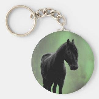 Una tranquilidad de los caballos llavero redondo tipo pin