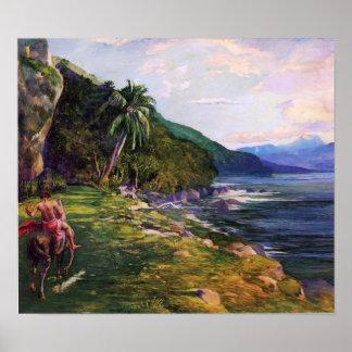 Una trayectoria de freno en el La Farge de Tahití Impresiones