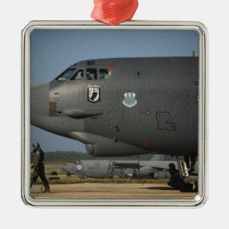Una tripulación aérea de la fuerza aérea de los adorno navideño cuadrado de metal