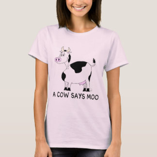 Una vaca dice el MOO Playera