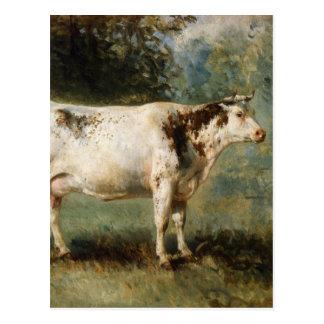 Una vaca en un paisaje por Troyon constante Tarjeta Postal