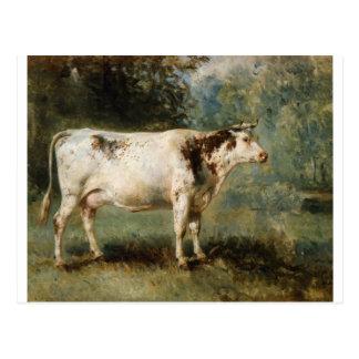 Una vaca en un paisaje por Troyon constante Tarjetas Postales