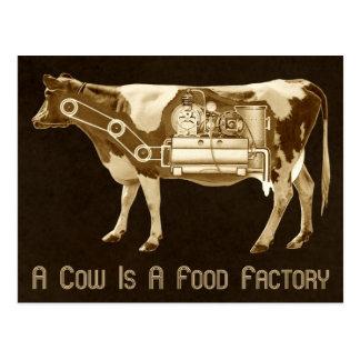 Una vaca es una fábrica de la comida - más leche tarjeta postal
