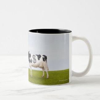 Una vaca lechera de Holstein con los puntos en la Taza De Dos Tonos