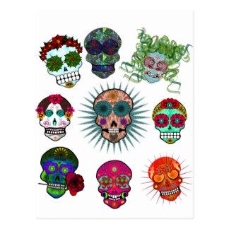 Una variedad de cráneos del azúcar tarjetas postales