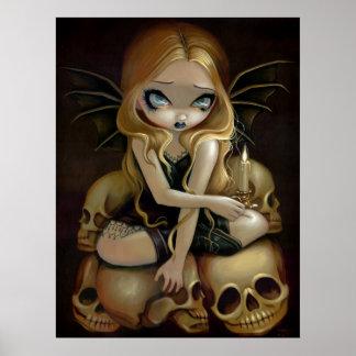 Una vela en la impresión de hadas gótica oscura de póster