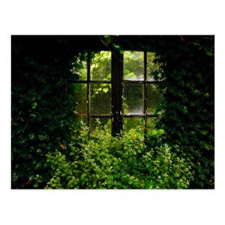 Una ventana del jardín secreto con las plantas que postal