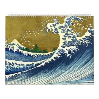 Una versión coloreada de la onda grande calendario de pared