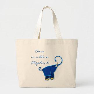 Una vez en un elefante azul bolsa tela grande