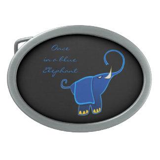 Una vez en un elefante azul hebillas de cinturón ovales