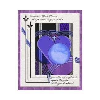 Una vez en una luna azul (poético, púrpura, pintan impresión en lona