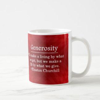 Una vida de la generosidad taza