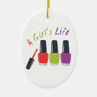 Una vida de los chicas adorno navideño ovalado de cerámica