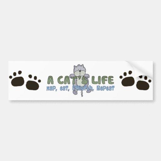 Una vida de los gatos pegatina de parachoque
