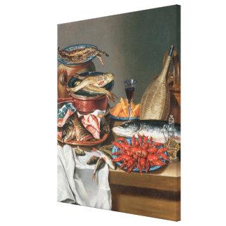 Una vida inmóvil de las langostas de un pescado, d impresiones en lona estiradas