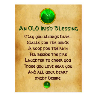 Una vieja bendición irlandesa para el pergamino de postal