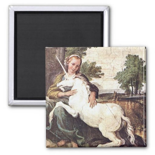 Una Virgen con un unicornio de Domingo Zampieri Imanes