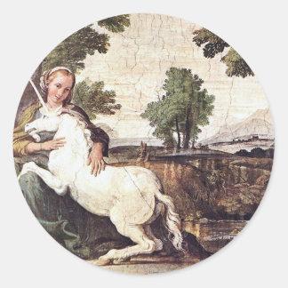 Una Virgen con un unicornio de Domingo Zampieri Etiqueta Redonda