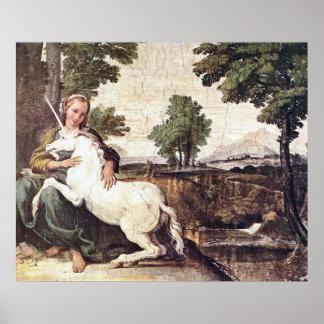 Una Virgen con un unicornio por la impresión de Do Impresiones