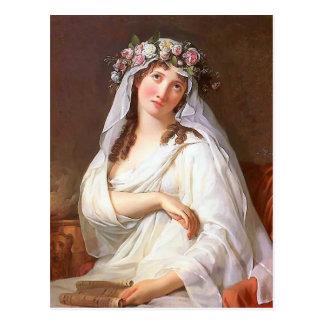 Una Virgen coronada con las flores por Jacques Dav Postal