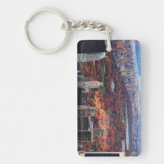 Una visión desde arriba: Otoño en el Central Park Llavero Rectangular Acrílico A Doble Cara