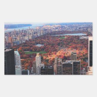 Una visión desde arriba: Otoño en el Central Park Pegatina Rectangular