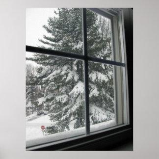 Una visión desde la ventana del árbol de hoja pere póster