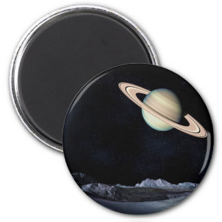 UNA VISIÓN LUNAR (espacio exterior) de Saturno Imán Redondo 5 Cm