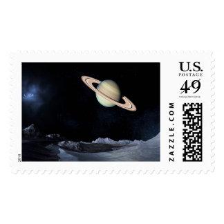 UNA VISIÓN LUNAR (espacio exterior) de Saturno Timbres Postales