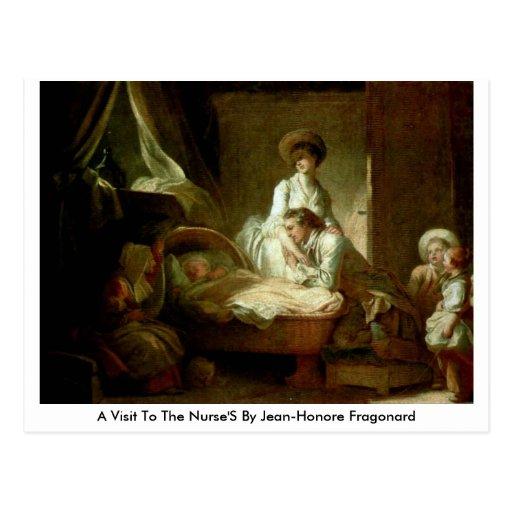 Una visita a las enfermeras de Jean-Honore Fragona Postales