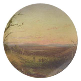 Una vista de Adelaide en la puesta del sol Platos