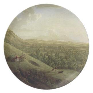 Una vista de Boxhill, Surrey, con Dorking en el SI Platos De Comidas