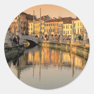 Una vista de Italia Pegatina Redonda