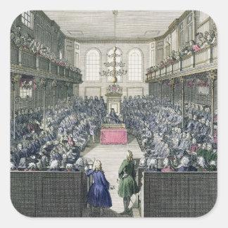 Una vista de la Cámara de los Comunes, grabada por Pegatina Cuadrada