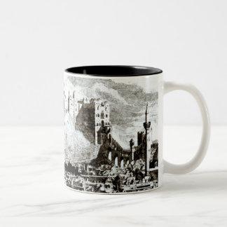 Una vista de la ciudad y del castillo de Alepo, Si Tazas