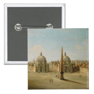 Una vista de la plaza del Popolo (aceite en lona) Pin Cuadrada 5 Cm